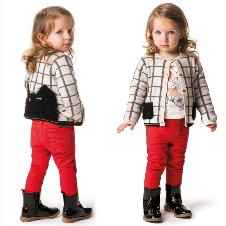 Girls red, slim fit trousers byCatimini,made from a soft and stretchy, woven cotton blend. They feature yellow and black stitching on the pockets, with round and square studs down the sides and a logo tab at the back, decorated with more studs. A leopard print button covers the hook and eye fastener on the adjustable waistband, which can be made smaller for slimmer girls.