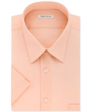 Van Heusen Poplin Solid Short-Sleeve Dress Shirt - Orange 18.5