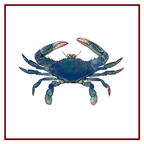 Nautical Seashore Blue Crab Counted Cross Stitch Or