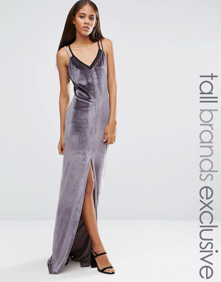 Naanaa Tall Velvet Strappy Double Layer Maxi Dress - Gray