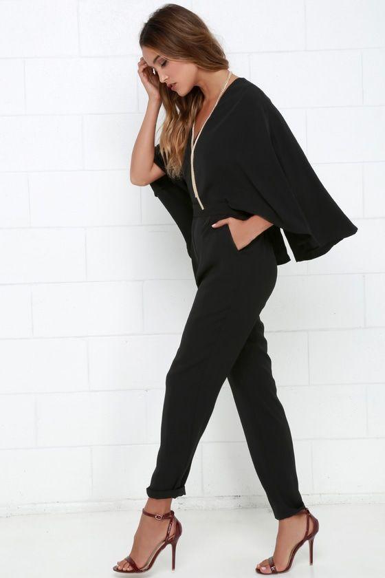 Project Stunning Black Cape Jumpsuit Fashion Cape Jumpsuit