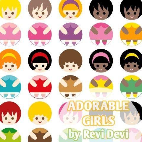 Adorable Girls 16051  Printable Circle 1.313  fun by blessedgrafik