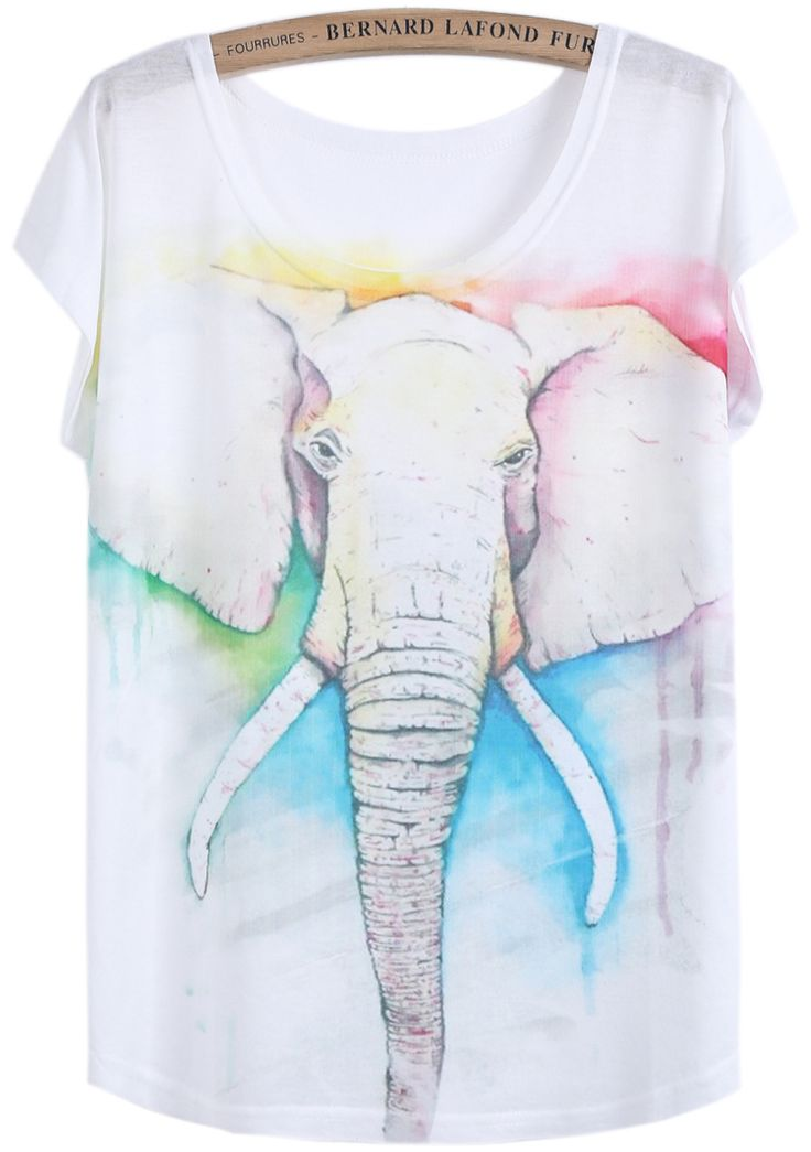 White Short Sleeve Elephant Print T-Shirt US$14.01