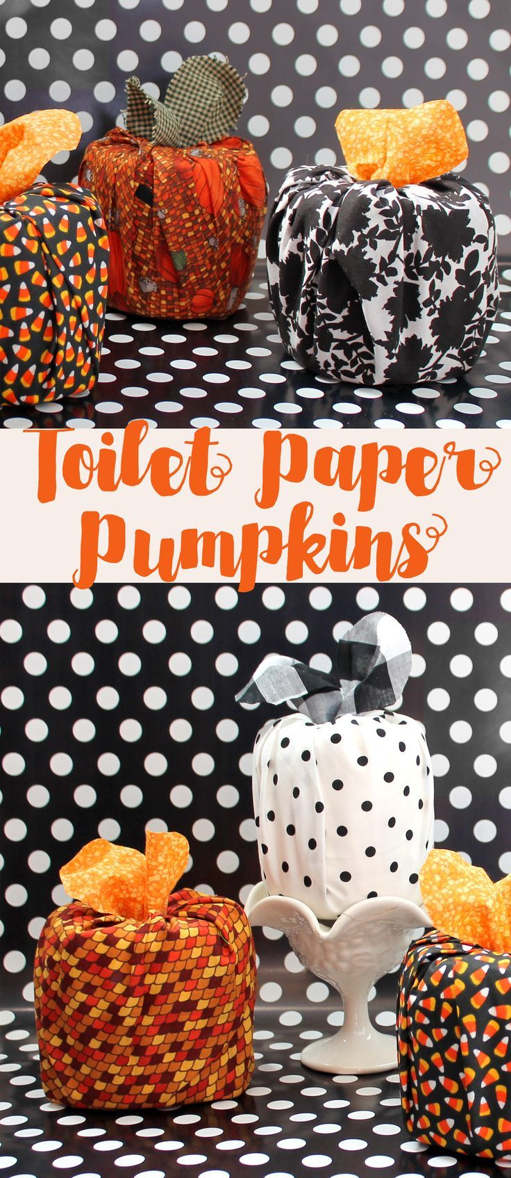 Toilet Paper Roll Pumpkins. These are so cute and easy to make! No sewing required. Cute Fall DIY decor craft anyone can make.