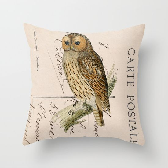 Owl postcard Throw Pillow