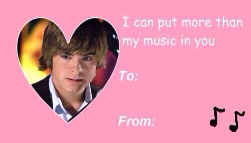 Troy Bolton High School Musical Valentine Day Card – Valentine Musical Cards