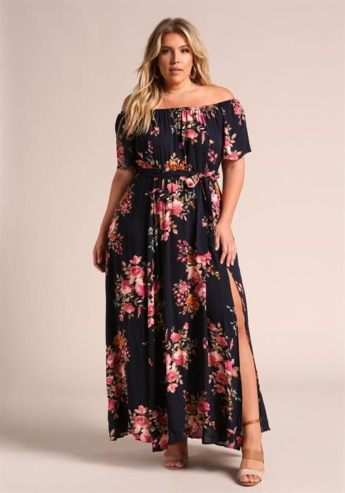 Plus Size Floral Off Shoulder Slit Maxi Dress