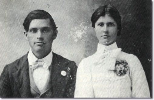 Gladys Presley's Parents (Elvis' Grandparents) - Bob and Doll Smith - Day of Wedding September 19, 1903.