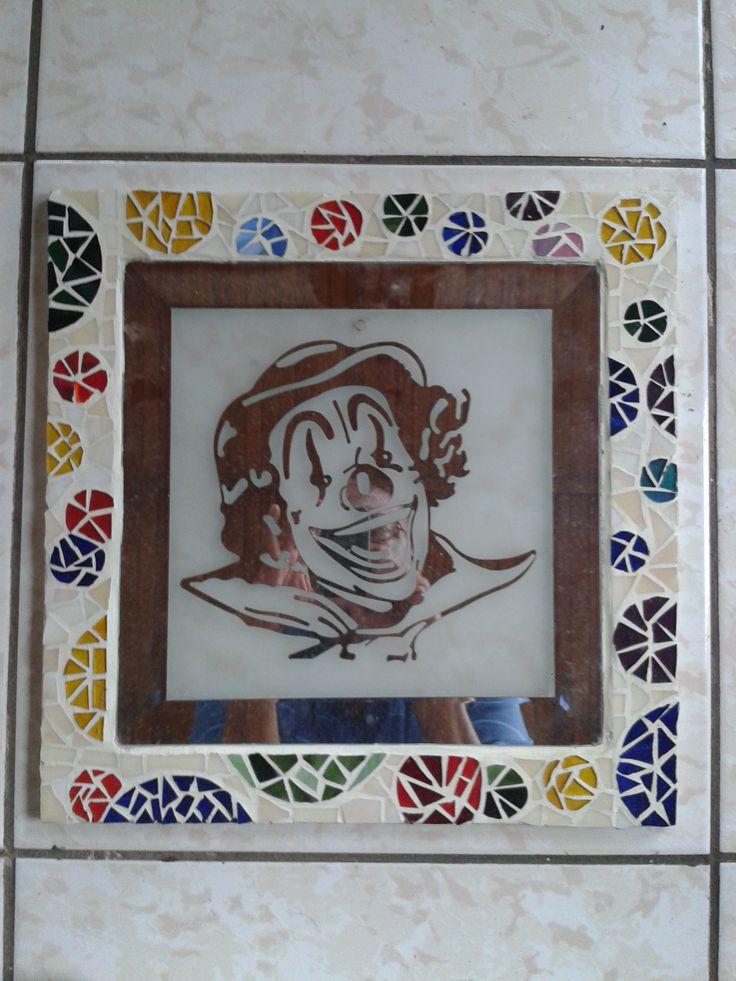 Mosaic glass frame - Clown