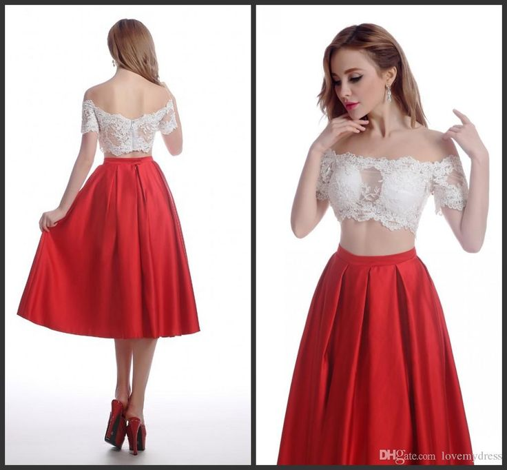 Cocktail Dresses Two Pieces Prom Dresses White Appliques Elegant Above Tea Length Cute Sweet Formal Party Gowns Zipper Back Short Sleeve Cocktail Dresses Canada Cocktail Dresses Cheap From Lovemydress, $77.02| Dhgate.Com