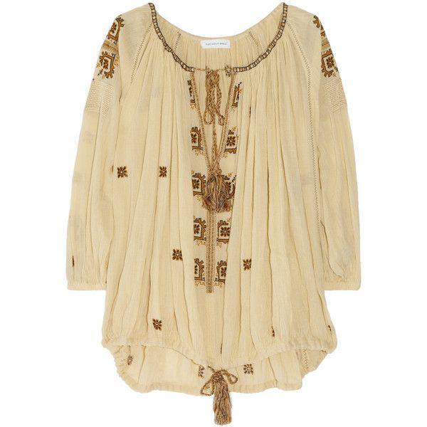 Étoile Isabel Marant Baker embroidered cotton-gauze smock top, found on polyvore.com