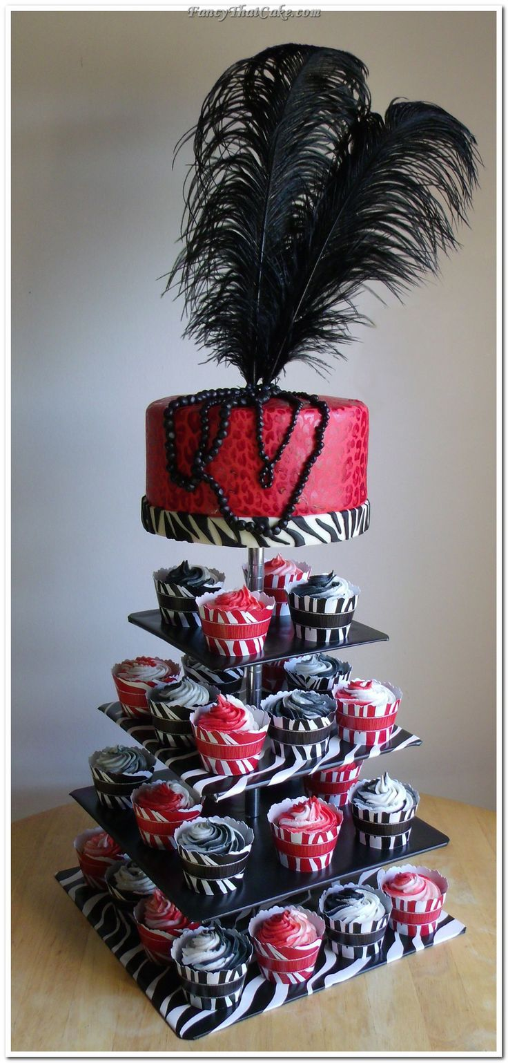 red and zebra wedding | Cheetah and Zebra Prints Cake and Cupcakes