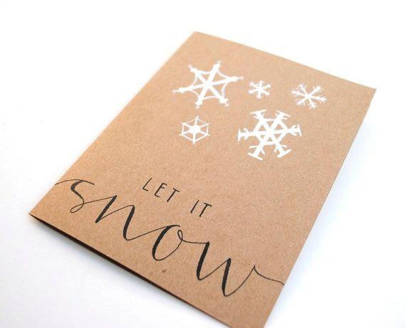 Let It Snow Handwritten Greeting Card By SparrowNestScript