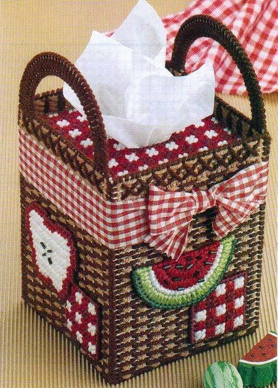 The pattern uses 7 mesh plastic canvas and worsted weight yarn to stitch the design. Finished size covers a boutique style tissue box. The pattern is in Like New condition with colored charts that I carefully removed from a hard cover book. | eBay!
