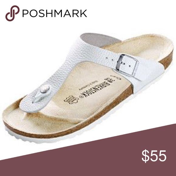 {Birkenstock} White Leather Gizeh Style (36) Popular white leather Gizeh style Birkenstock sandals • Signs of use on the footbed, sides and bottoms (some stains) • They'r size 36 equivalent according the Birk site to shoe size 5.5-6 • I tried to capture all the light signs of use. The footbed can be cleaned off • Google results says how (baking soda  etc) • Offers considered pending how much you're asking discounted! Birkenstock Shoes Sandals