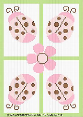 Crochet Pattern - LADYBUGS AND DAISY Color Graph/Chart Baby Afghan Pattern