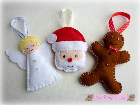 Felt Gingerbread Man Handmade Ornament by rosecottagedesignss