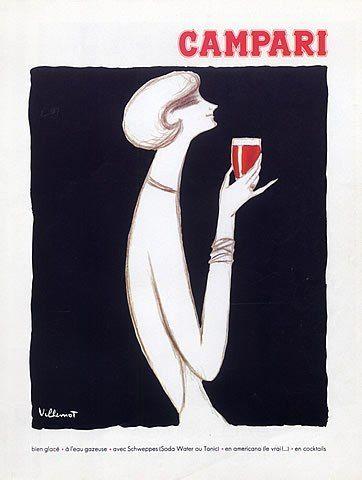 Campari campagna pubblicitaria vintage. Una delle infinite opere di Bernard Villemot (1911 - 1989) l'artista francese che per la sua capacità di sintesi nel messaggio pubblicitario, con semplici ed eleganti linee, ha prodotto immagini memorabili.