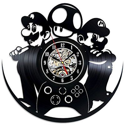 Mario and Luigi Game Vinyl Record Wall Clock - Decorate your home with Modern Art - Gift for kids, girls and boys - Win a prize for a feedback