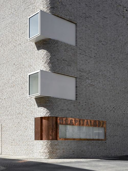 Round brick corner: Hospitalhof in Stuttgart, Germany designed by Lederer Ragnarsdóttir Oei Architects