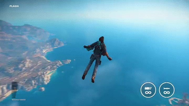 """Rico's new """"Bavarium"""" wingsuit essentially makes him a hybrid of man and jet [Just Cause 3]"""