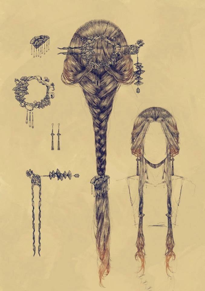 Romantische Frisur. Schön für mittelalterliche Zeichnungen und Feen.