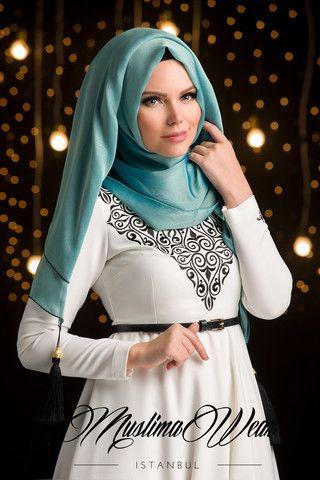 Chiffon Scarf hijab Aquamarine color with silk tassel. | US Muslima Wear