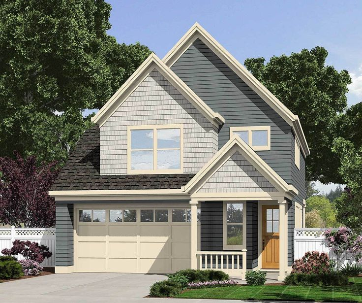 Plan 69480AM Narrow Lot Cottage with Angled Kitchen