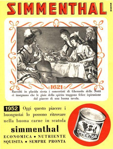 La pubblicità della carne in scatola Simmenthal Di Radar, Pubblicità da rivista, 1952