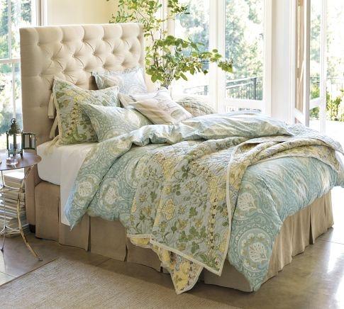 Ravenna Bedding and Linens #Bedroom Natural Linen Tufted Upholstered #Bed & #Headboard