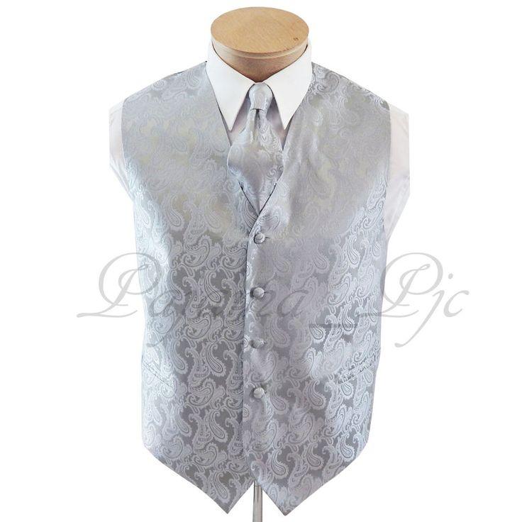 Brand Q Men's Silver Paisley Tuxedo Suit Dress Vest Waistcoat