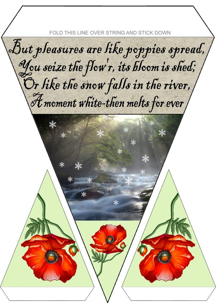 Printable Rabbie Burns Bunting - Poppies and Snow: Rooftop Post