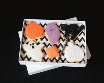 Selezione di sei biscotti di Halloween - halloween party dolcetti, biscotti fantasma, pietra tombale biscotti, biscotti di zucca, trucco o trattare i regali