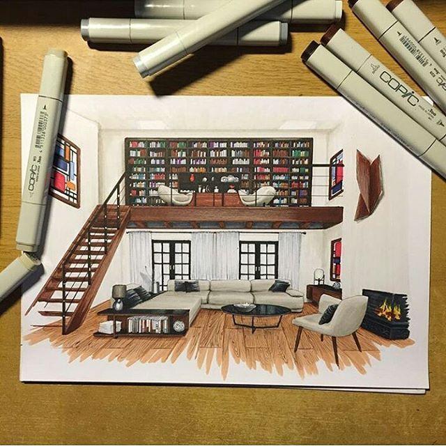 Perspectiva interna representada com marcadores.  What Do you Think?   O que você acha? Por @zasstdesign #arquitetapage Snapchat: arquitetapage