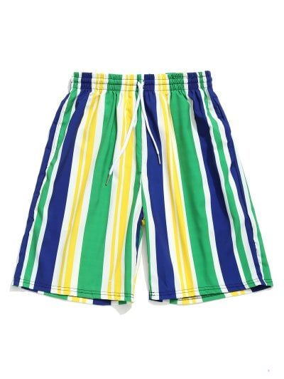 Brazilian Flag Colorblock Striped Print Casual Beach Shorts