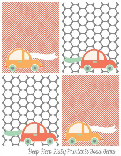 beep beep baby shower, food tents, printable party decor, car baby shower, boy shower ideas, printable party, chevron, polka dots