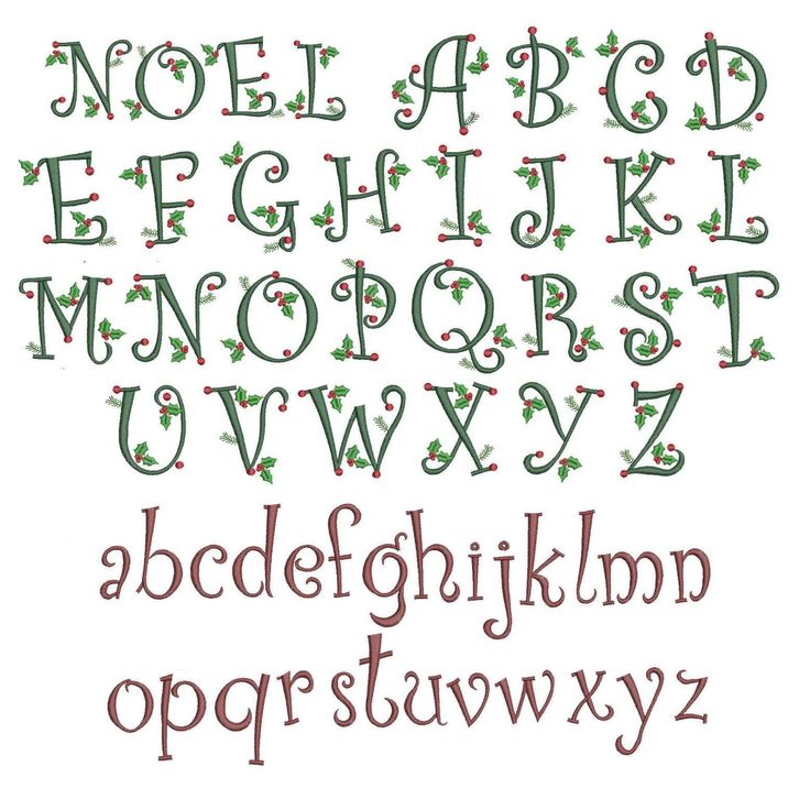 Curly christmas alphabet to fit 4x4 hoop note that - Alphabet noel ...