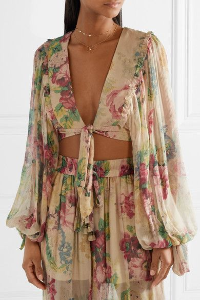 e4ff5769186cc Zimmermann | Melody cropped tie-front floral-print silk-crepon top |  NET-A-PORTER.COM