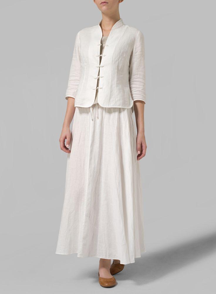 Linen Long Flared Skirt