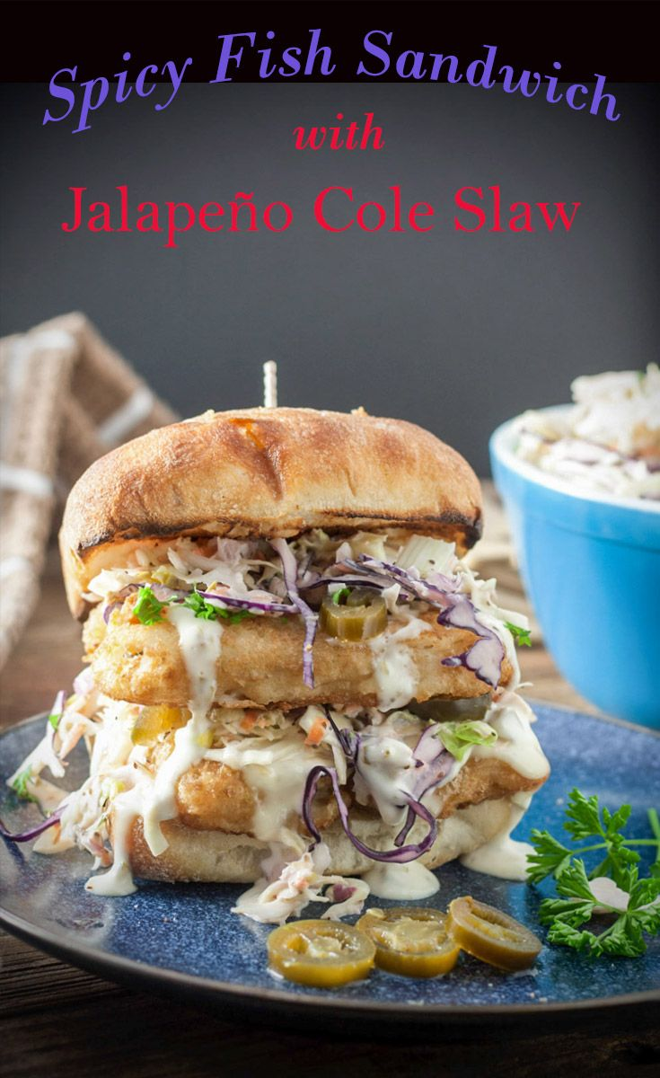#ad This #Spicy #Fish #Sandwich with Jalapeño Cole Slaw is done in 25 minutes thanks to the help of #Gorton's Beer Battered Fish! #ifbcx #binkysculinaryc via @binkysculinaryc