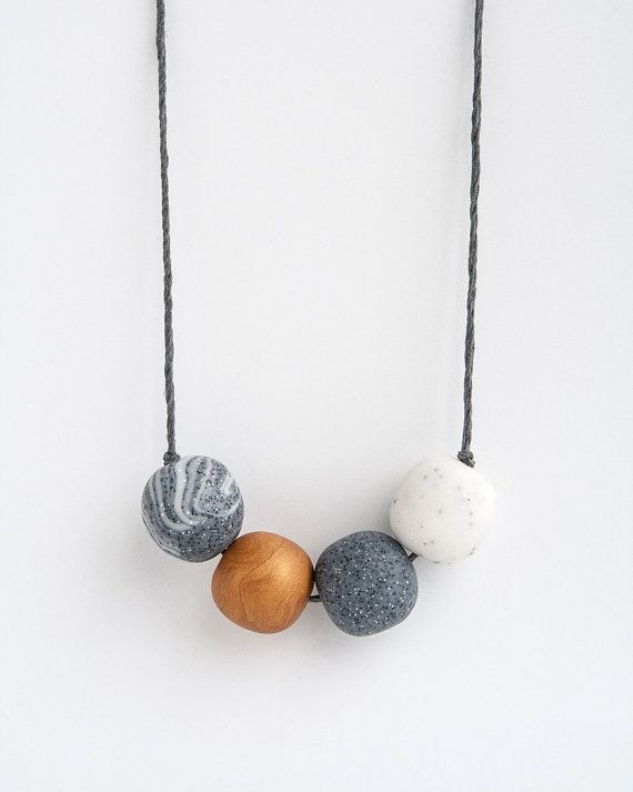 Clay necklace Beaded clay necklace Gray necklace Long by Brukne