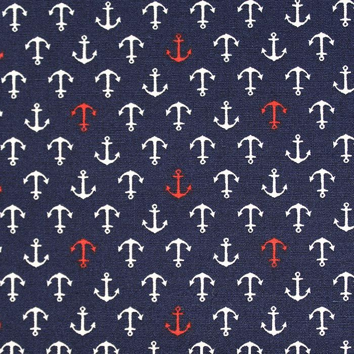 Red anchor on navy, cotone giapponese Sevenberry