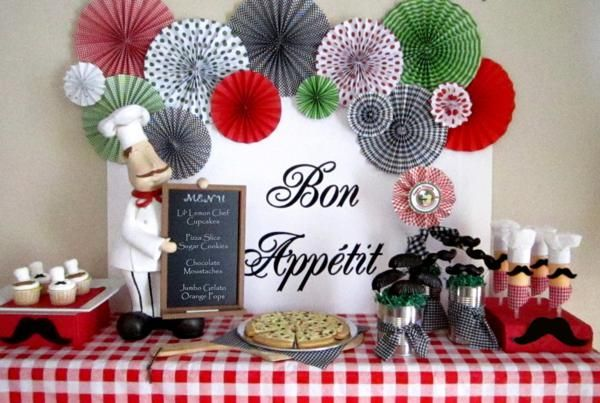 dessert table_600x403  Cooking Birthday Party: Pizza Parties, Mustache Parties, Birthday Parties, Bon Appetit, Paper Fans, Parties Ideas, Cooking Parties, Parties Desserts, Desserts Tables