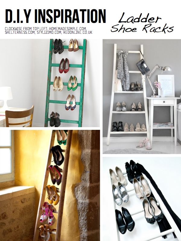 DIY Ladder shoe racks. Definitely cuter than others I've seen, but not sure it would hold as many shoes. Could be good for an apartment without much closet space though!