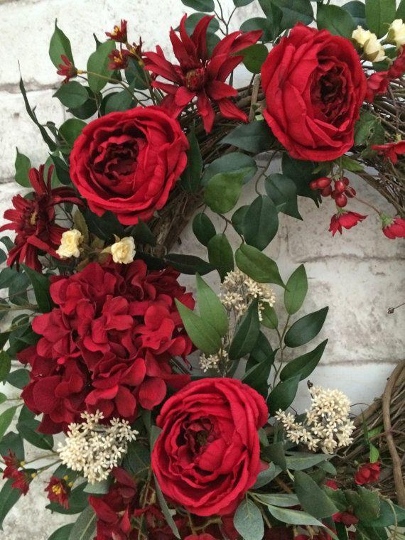 Red Summer Wreath for Door Front Door Wreath by AdorabellaWreaths
