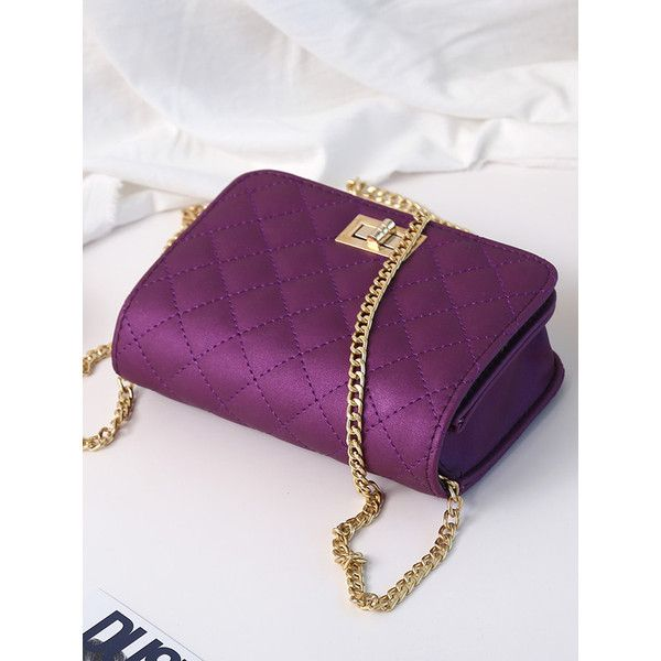 SheIn(sheinside) Quilted Flap Crossbody Bag With Chain (195 EGP) ❤ liked on Polyvore featuring bags, handbags, shoulder bags, crossbody purse, purple handbags, quilted handbags, purple shoulder bag and cross-body handbag