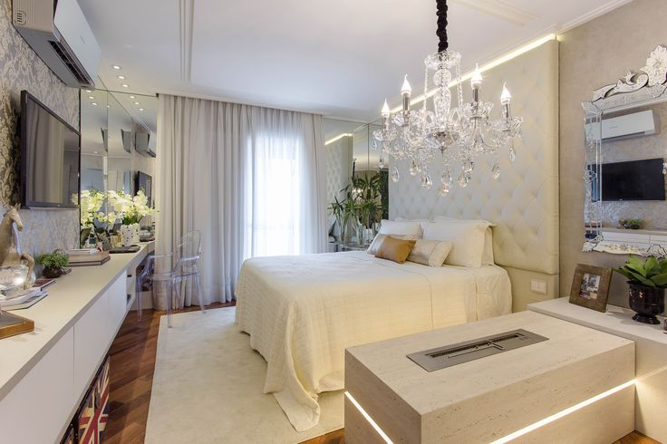 room white bedroom decor painel capitone lustre quarto espelho veneziano