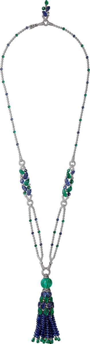 CARTIER HIGH JEWELRY NECKLACE  Platinum, emeralds, sapphires, diamonds