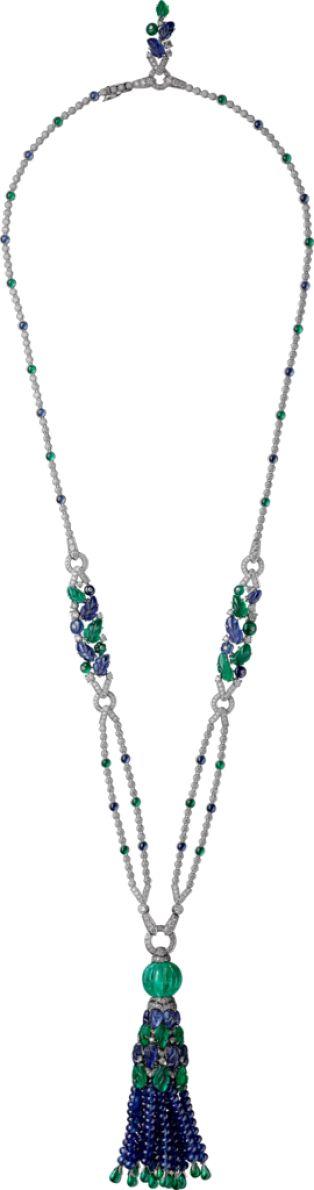 CARTIER HIGH JEWELRY NECKLACE  Platinum, emeralds, sapphires, diamonds