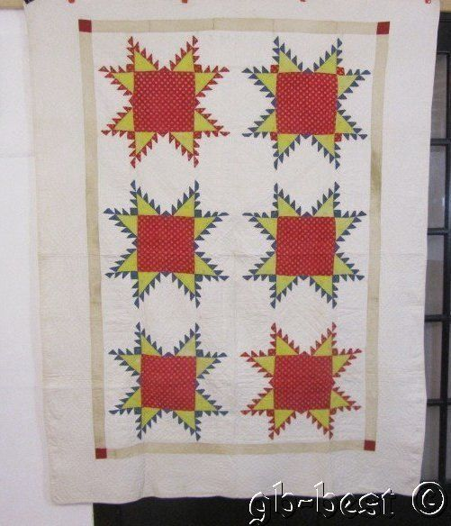 Fine Quilting Feathered Star Antique Quilt Prussian Blue Turkey Red 1850s Fabric | eBay